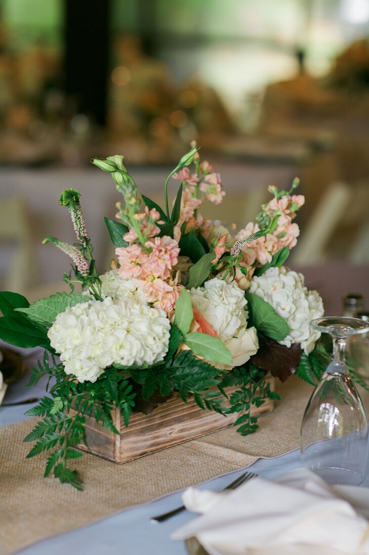 White hydrangea and pink delphinium centerpiece