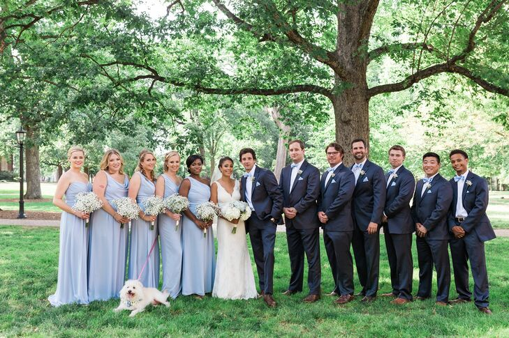 Light Blue Bridesmaid Dresses, Navy Suits