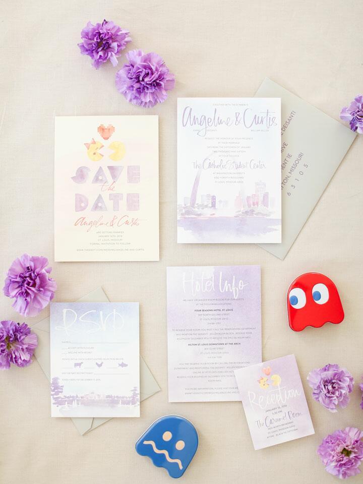 pac man themed wedding invitations