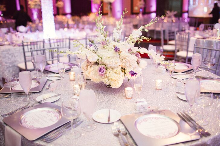 Low Hydrangea and Purple Rose Centerpiece