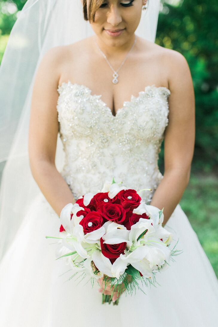 Red Rose And White Lily Bridal Bouquet