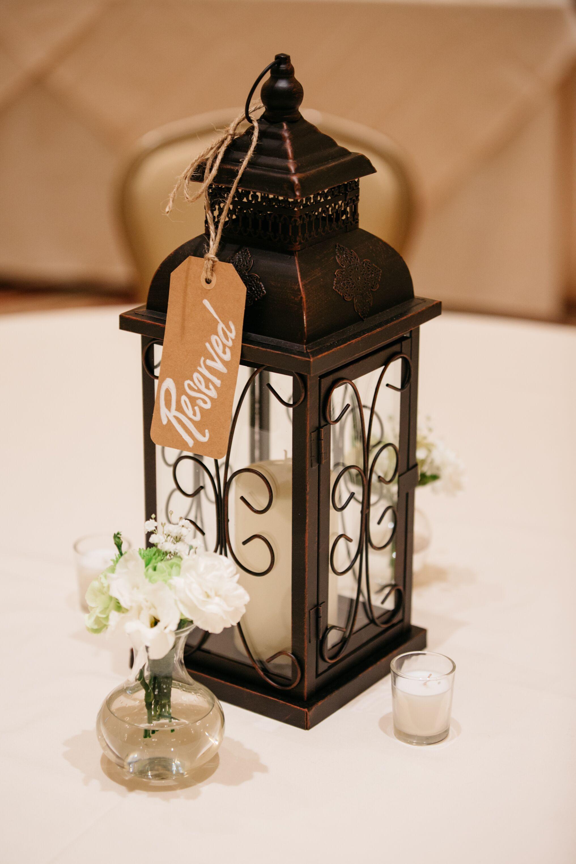 rustic black iron lantern centerpieces