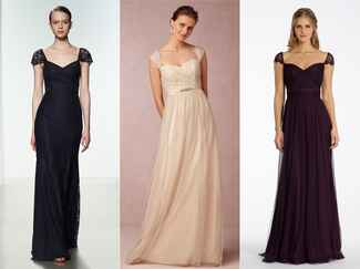 long bridesmaid dresses with cap sleeeves