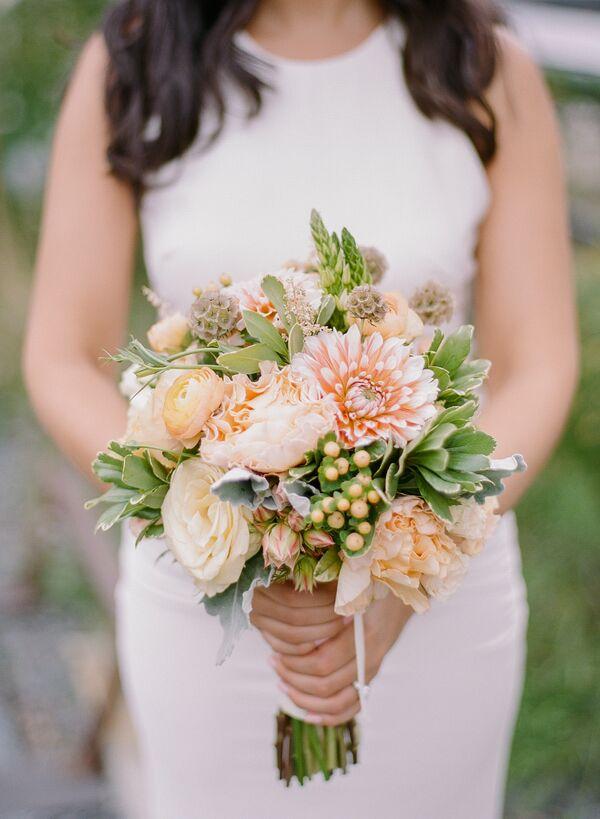 Textured Peach Bridal Bouquet