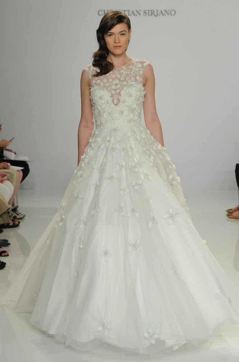 Christian Siriano Spring 2017 embroidered tulle ball gown wedding dress with 3D floral embellishments