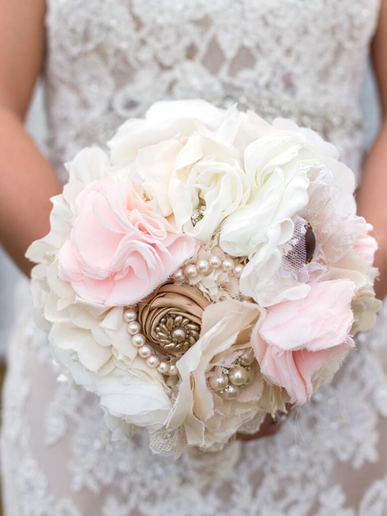 Unique wedding bouquet with white and pink fabric flowers
