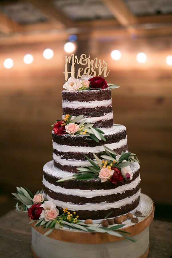 Chocolate Naked Cake with Personalized Cake Topper
