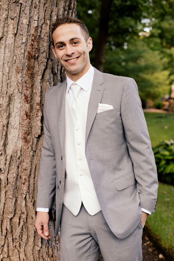 Groom in a Gray Suit with a White Tie