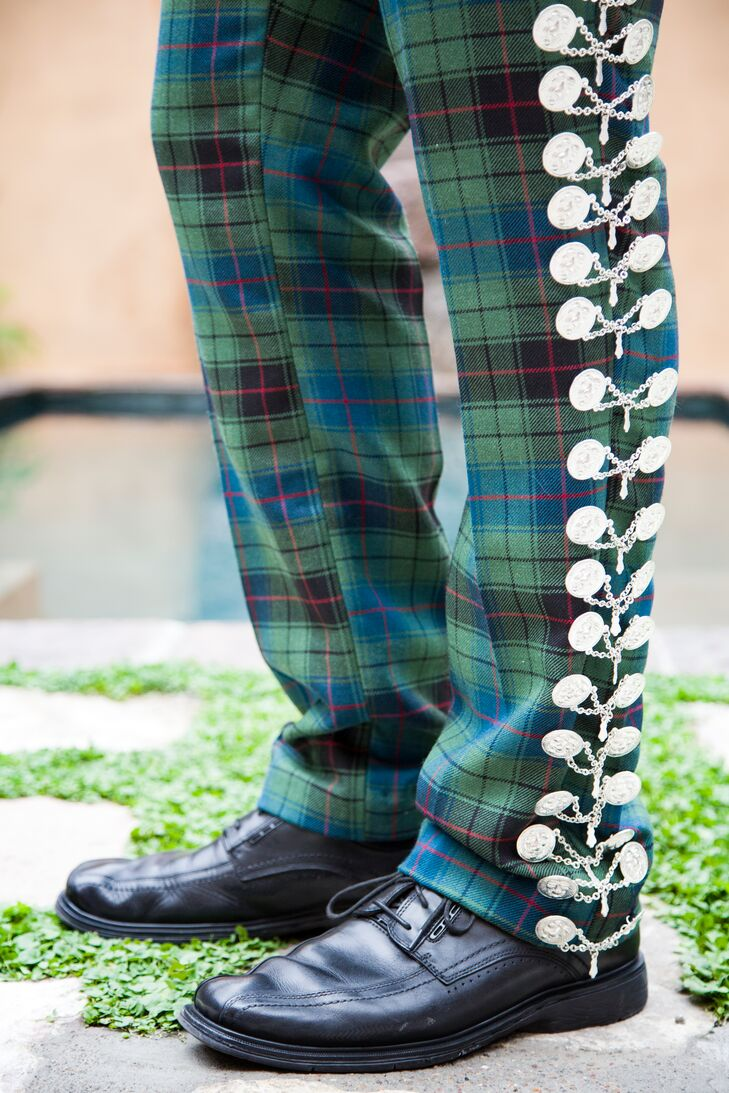 Scottish Tartan Pants With Mexican Mariachi Buttons