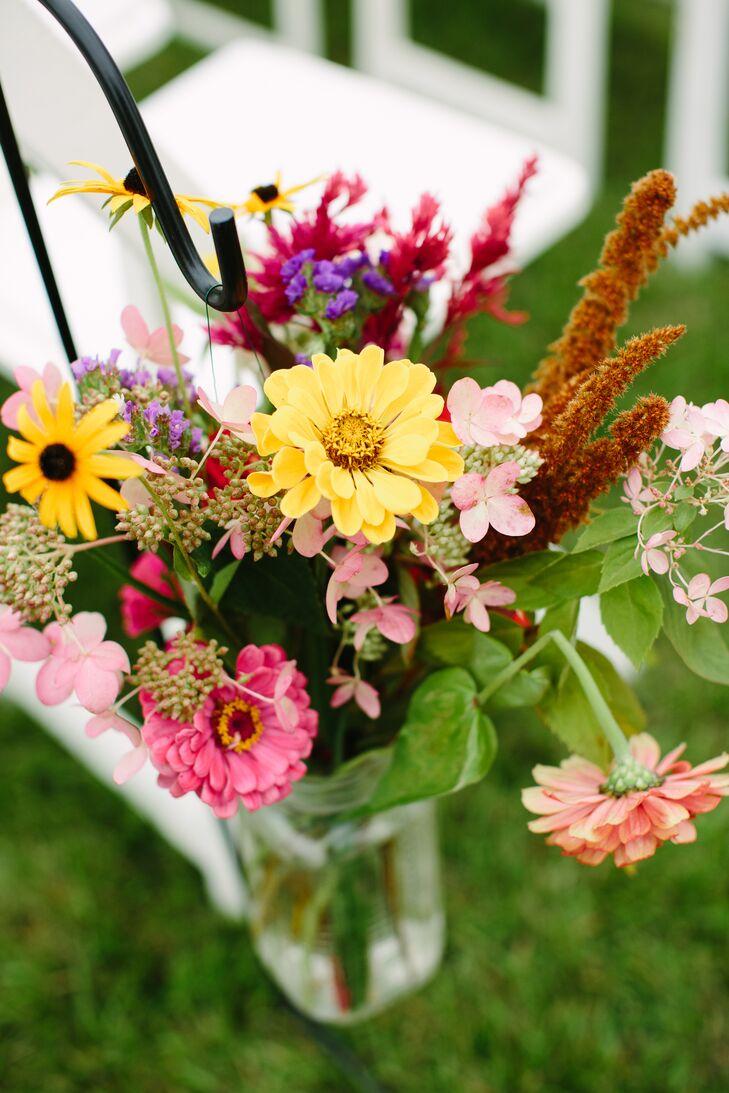 Yellow And Pink Zinnia Flower Arrangement