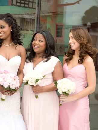 All-down bridesmaid hairstyle with glamorous curls
