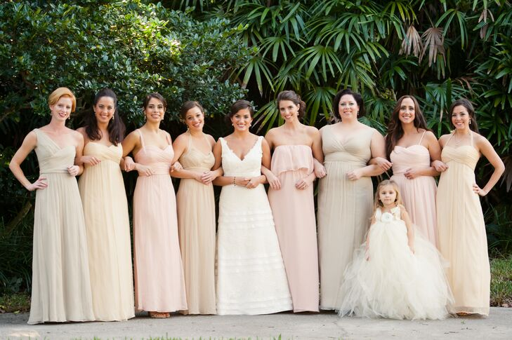 Bridesmaid Dresses In Neutrals Champagne Beige And Pale: Blush And Neutral Floor-Length Bridesmaid Dresses