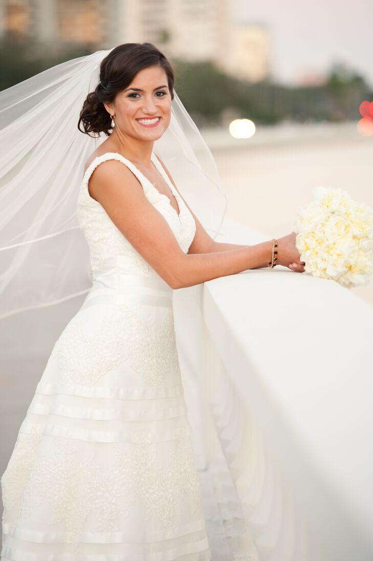 A-Line Demetrios Wedding Dress with Satin Ribbon
