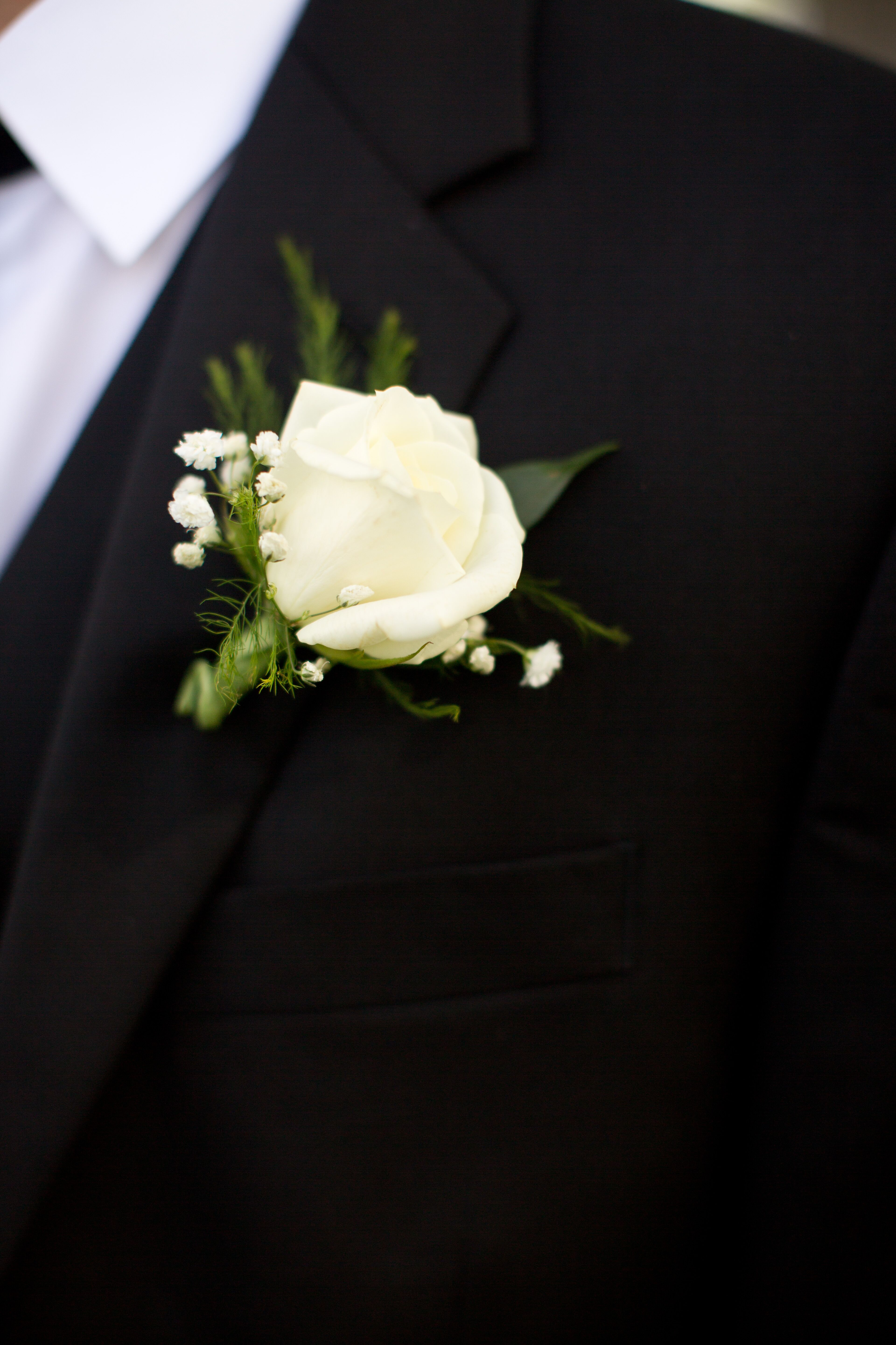White Rose And Baby S Breath Boutonniere