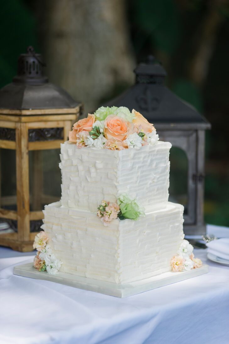 two tiered wedding cake ideas two tier square white wedding cake 21339