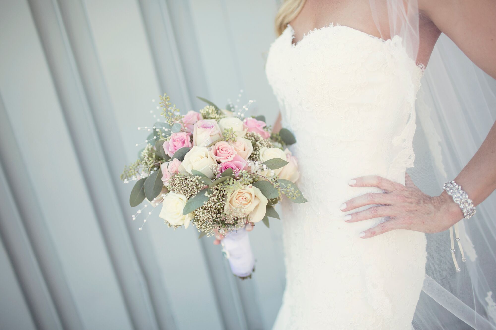 Blush Pink Green And Ivory Rose And Baby S Breath Bouquet