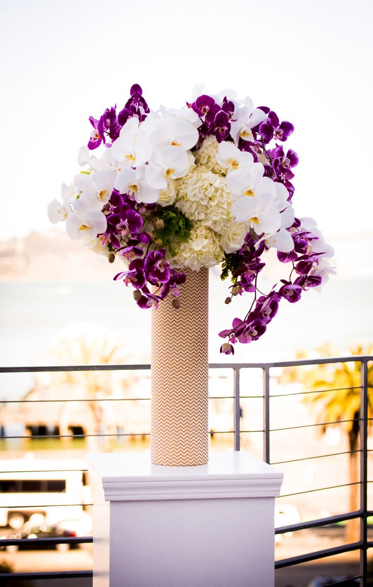 Purple and white tall flower arrangement