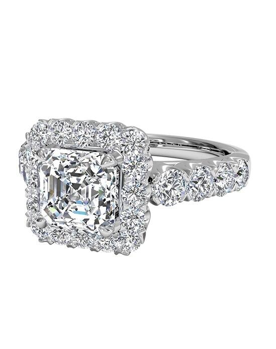 Ritani Asscher Cut Masterwork Halo Diamond Band Engagement Ring in 18kt White Gold (0.75 CTW) Engagement Ring photo