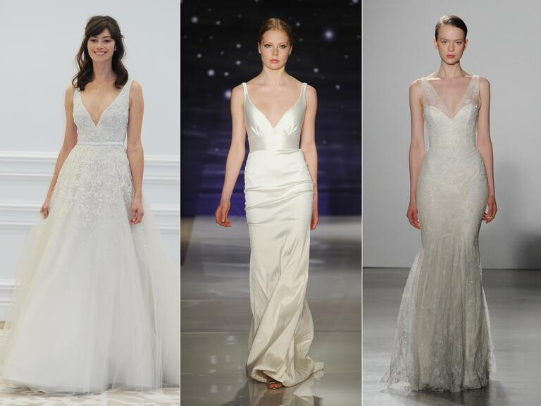 Wedding dresses with dipped V-necklines