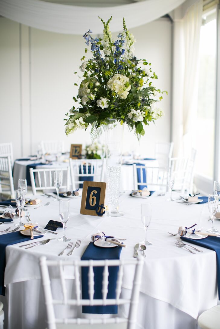 White Hydrangea and Wildflower Centerpiece