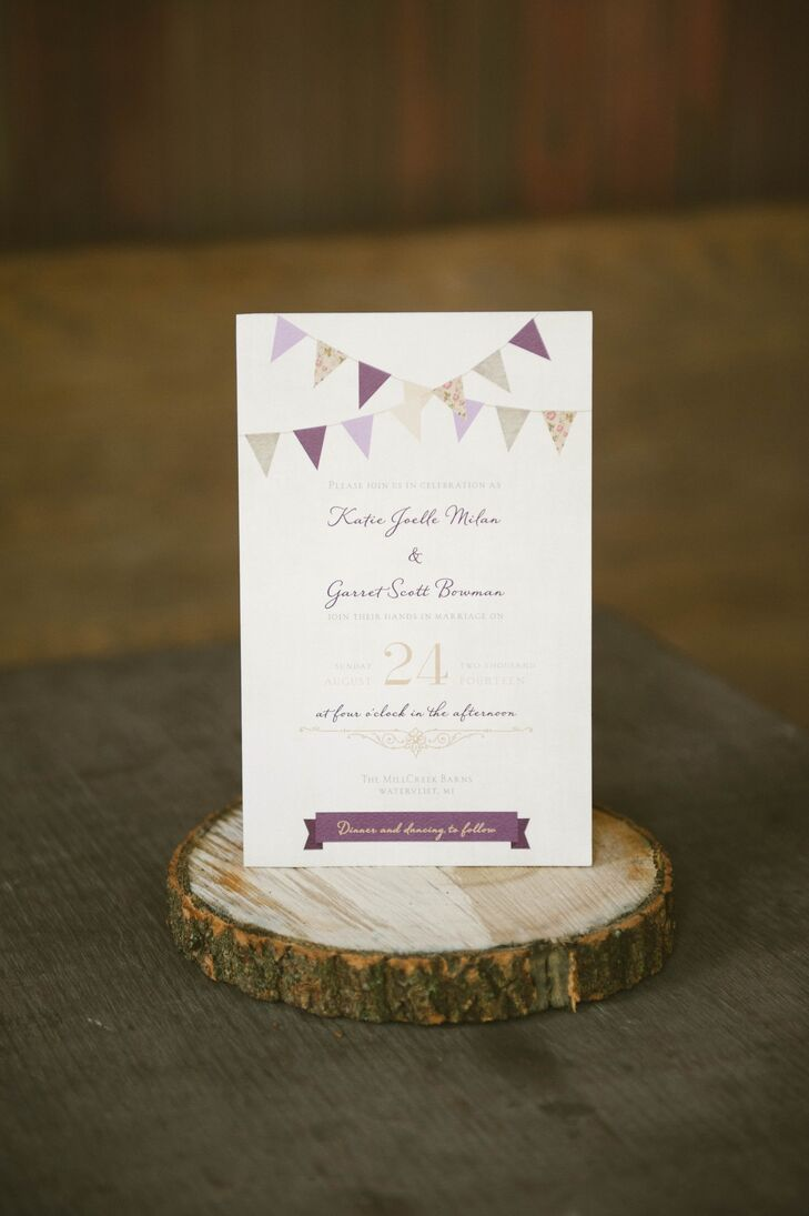 Katie and Garret opted for DIY invitations with a bunting design. The couple printed each one on card stock at a local office-supply store.