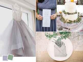 Organic sage and lavender wedding color palette
