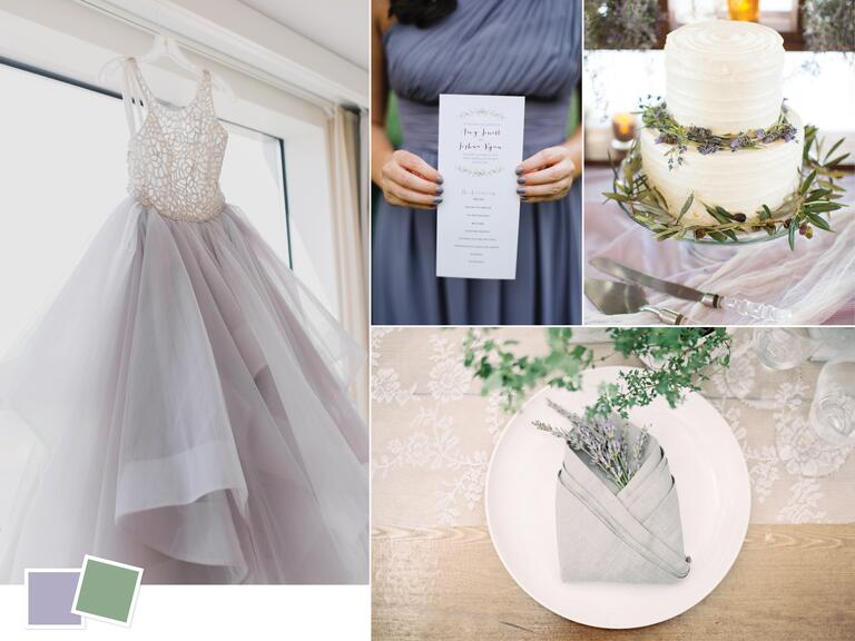 Organic sage and lavender wedding color palette