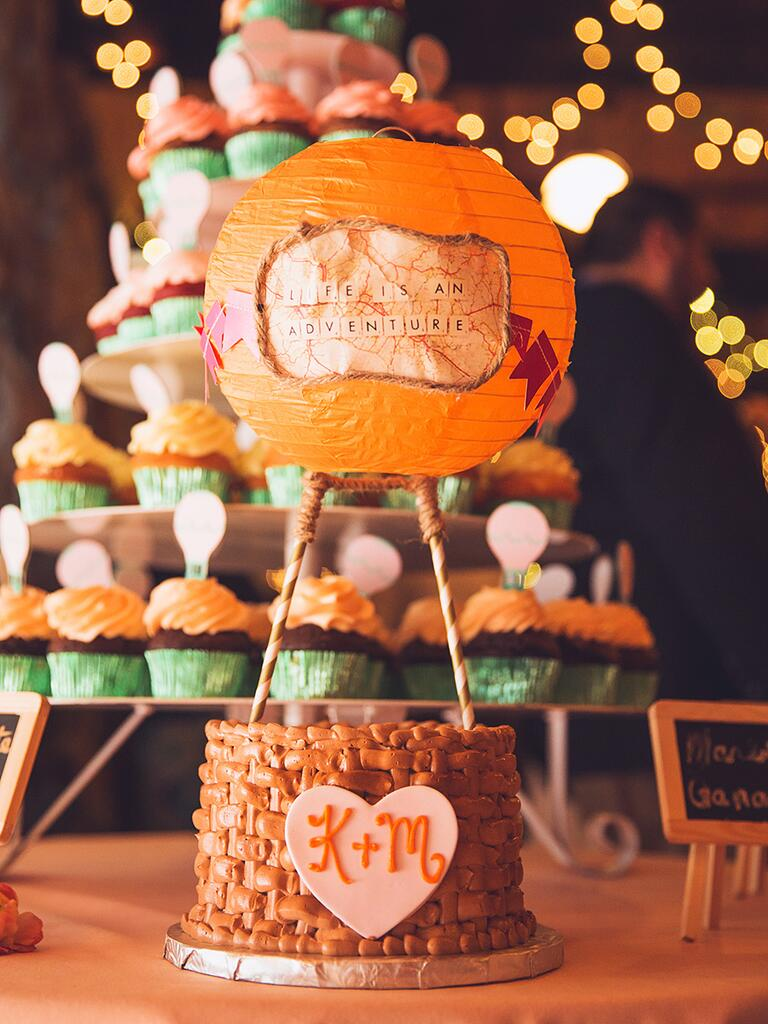 Hot air balloon-inspired wedding cake