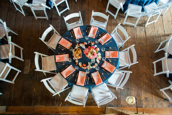 Coral and Navy Reception Tablescape