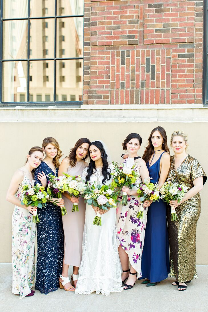 Different bridesmaid dresses in gold blue and pastels ombrellifo Gallery