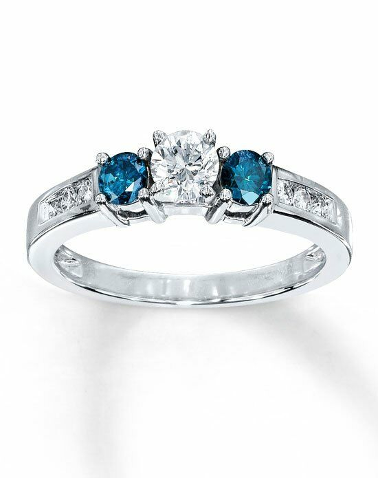 Artistry Diamonds 10kw 3/4cttw White and enhanced blue diamond three stone ring Engagement Ring photo