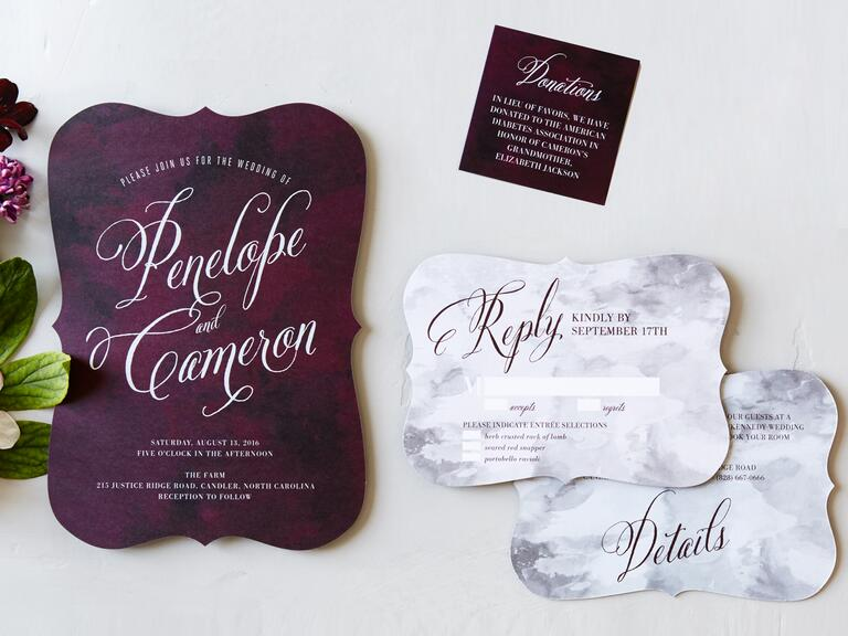 Wedding Paper Divas plum wedding invitation