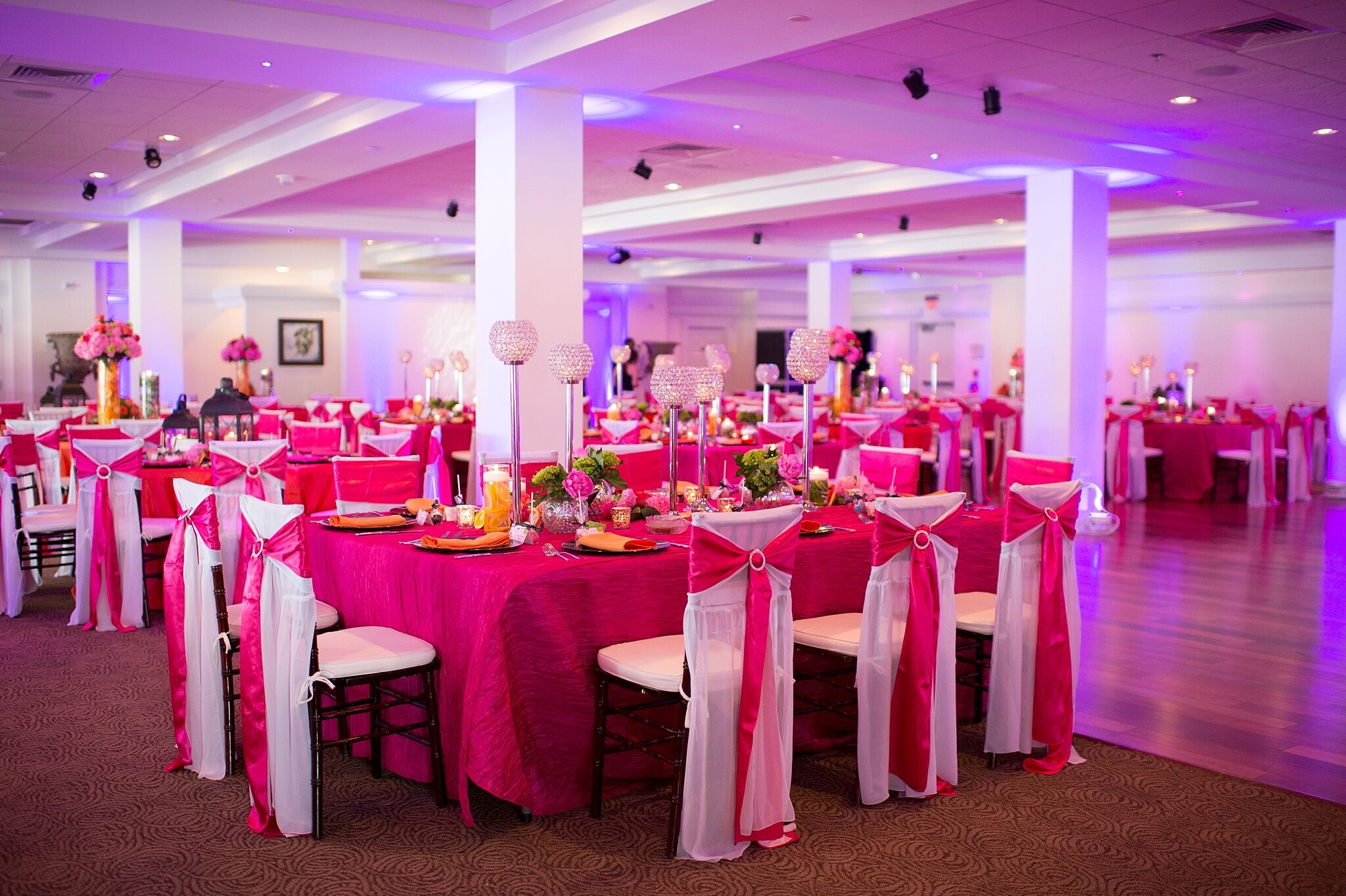 Fuchsia Reception With Purple Uplighting
