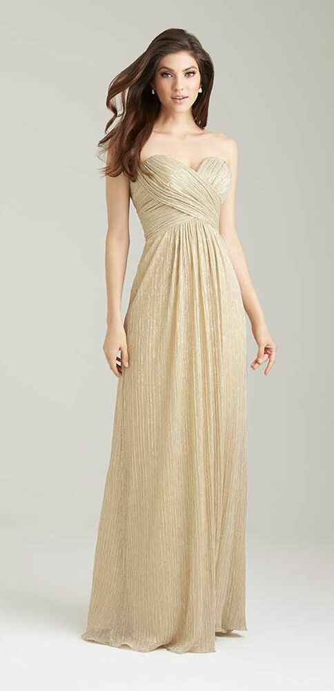 gold bridesmaid dress by Allure