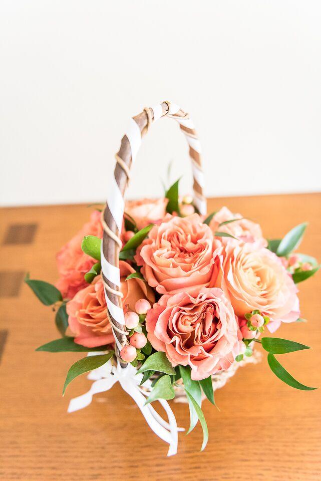 Coral Juliet Rose Flower Girl Basket