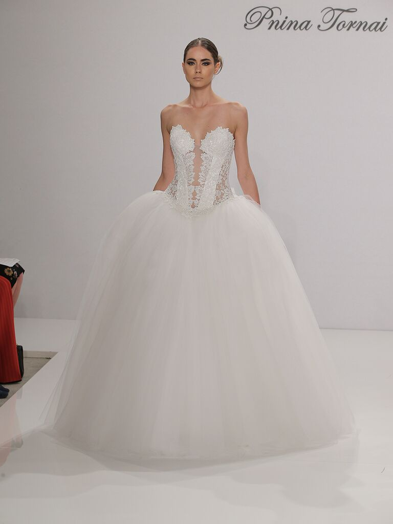 Pnina Tornai Fall 2017 Strapless Ball Gown With Tulle Skirt