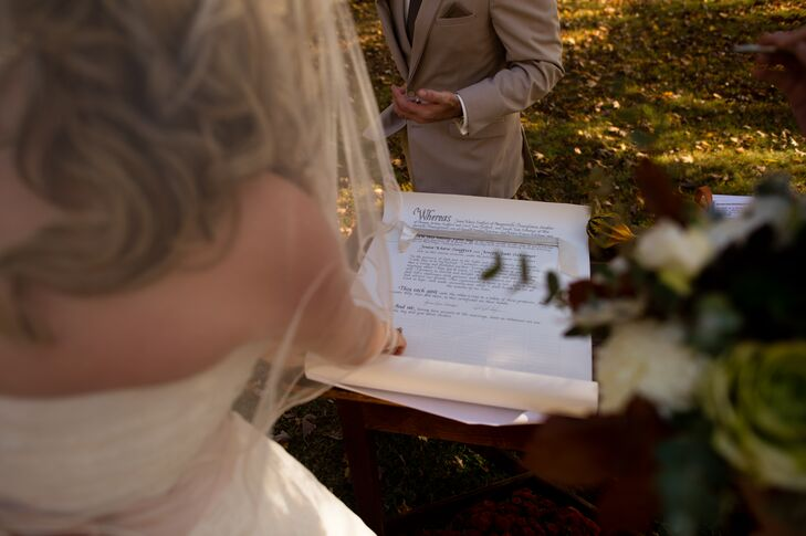 Following the Quaker tradition, Jenna, Joe and all of their guests signed their marriage contract as witnesses.
