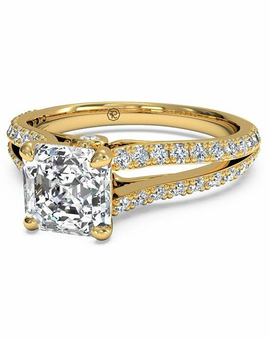 Ritani Asscher Cut Double French-Set Diamond 'V' Engagement Ring with Surprise Diamonds in 18kt Yellow Gold (0.24 CTW) Engagement Ring photo