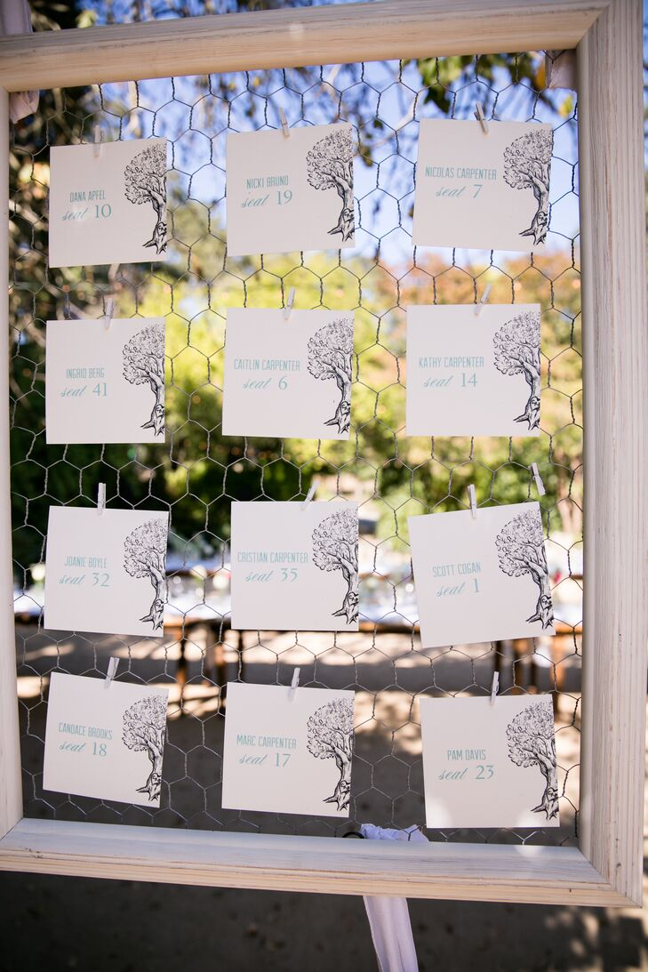 Since Brooke is a huge fan of trees, tree motifs graced most of the paper goods, including the escort cards in a silhouette style.