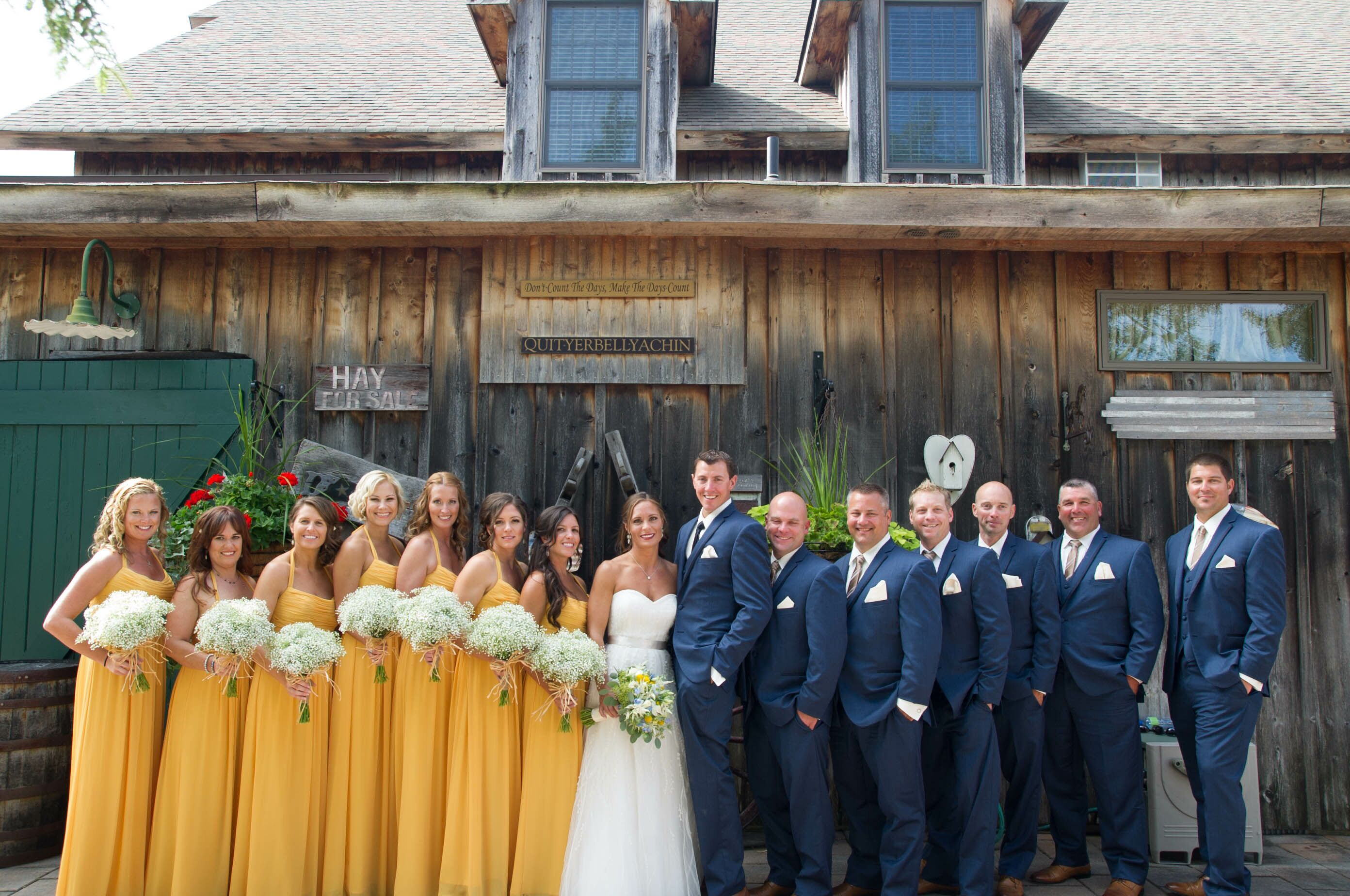 Wedding Party in Yellow and Navy Blue