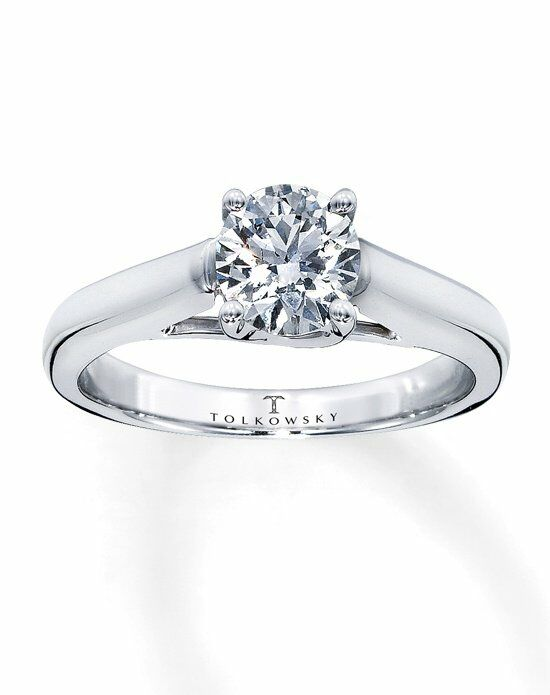 Tolkowsky Diamond Solitaire Ring 1 ct Round-Cut 14K White Gold-150910305 Engagement Ring photo