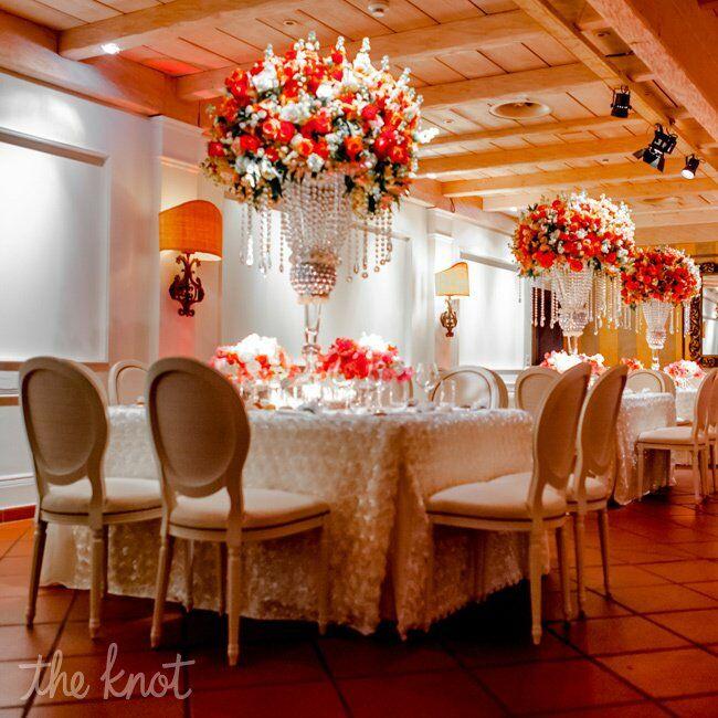 Coral Wedding Reception Ideas: Tall Coral Centerpieces