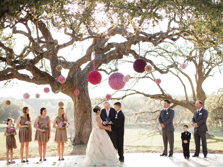 20 totally unexpected wedding flower ideas hanging flower pomanders junglespirit Choice Image