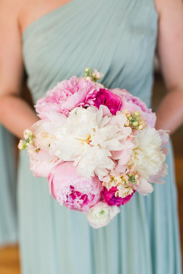 Lush White and Pink Peony Bouquet