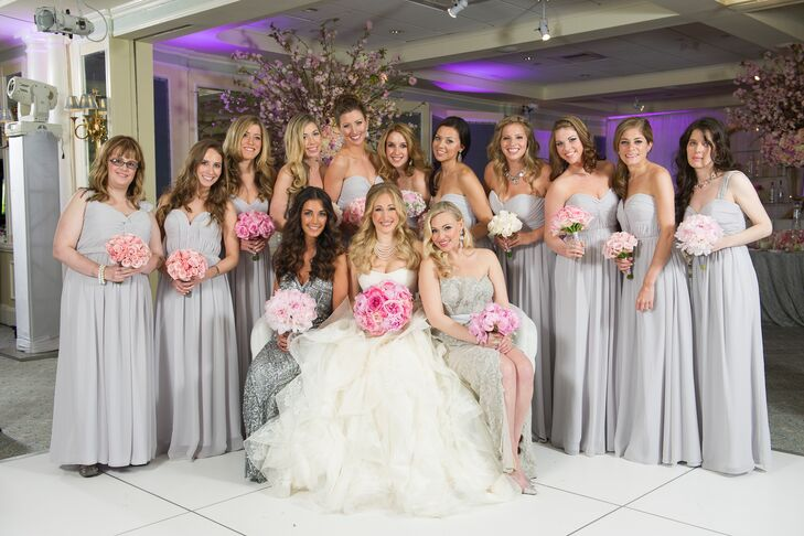 Erika S Bridesmaids Wore Long Light Gray Chiffon Dresses By Bari Jay In Mismatched Styles