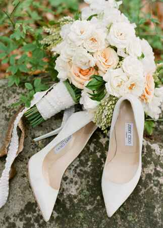 Jimmy Choo wedding shoes with ivory and peach bouquet | Jose Villa | blog.theknot.com
