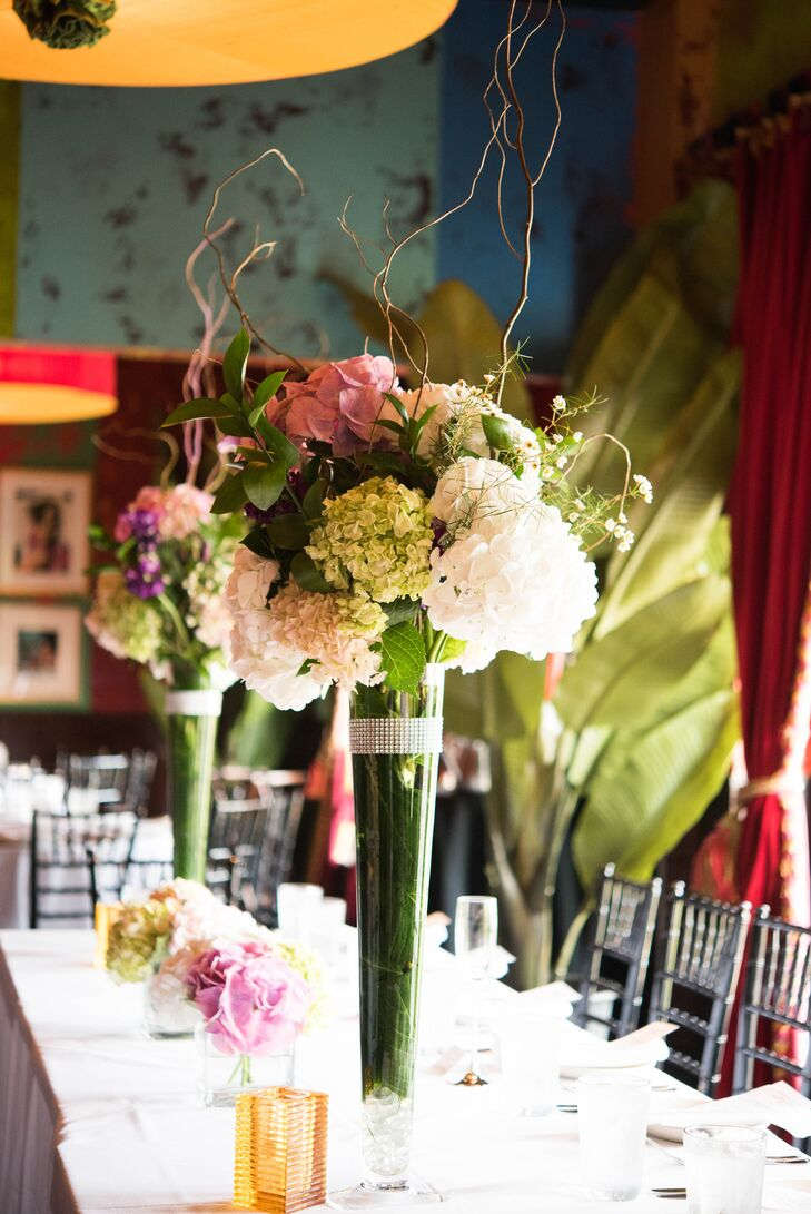 Tall white and green hydrangea centerpiece