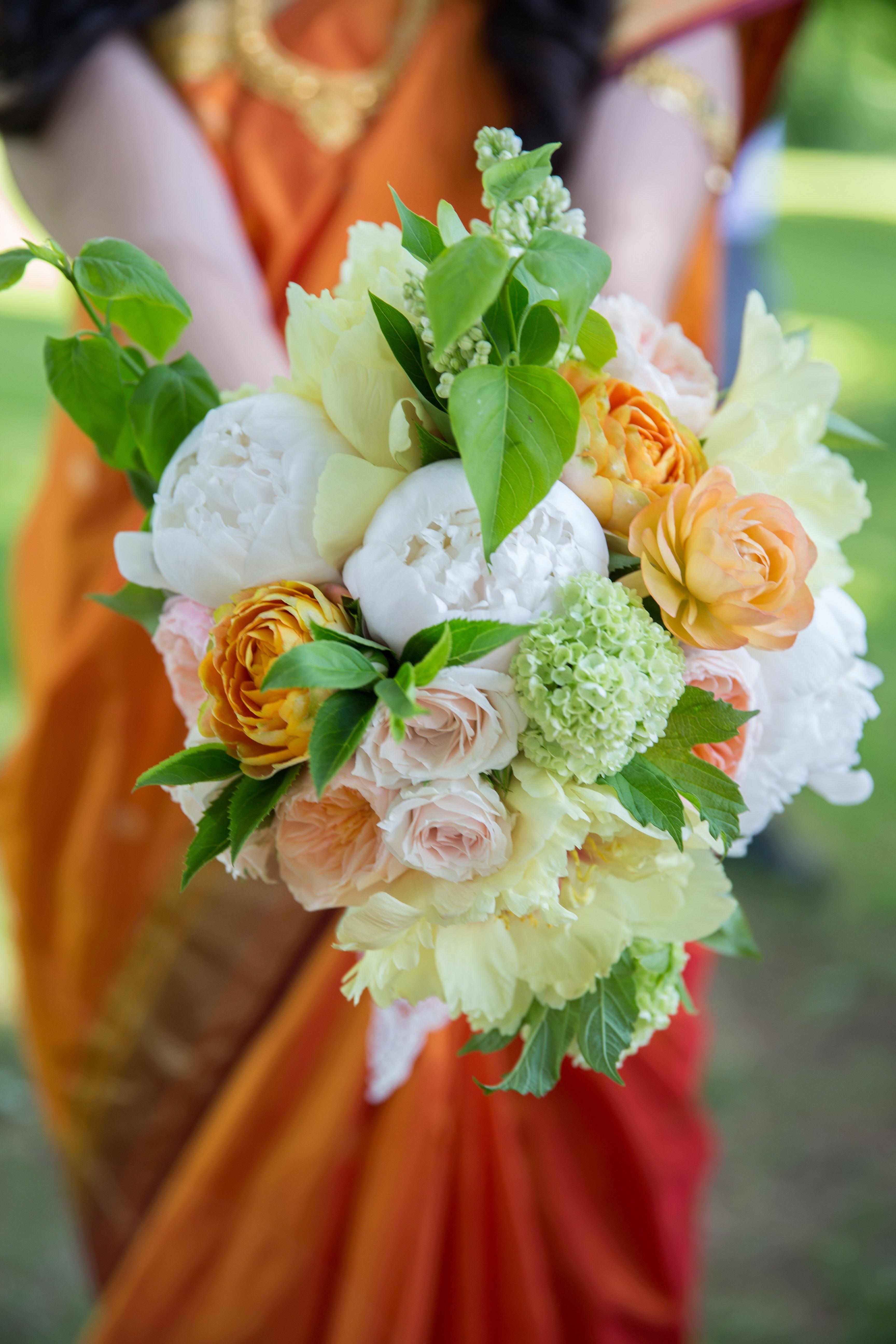 Orange Garden Rose: White Peony And Orange Garden Rose Bridal Bouquet