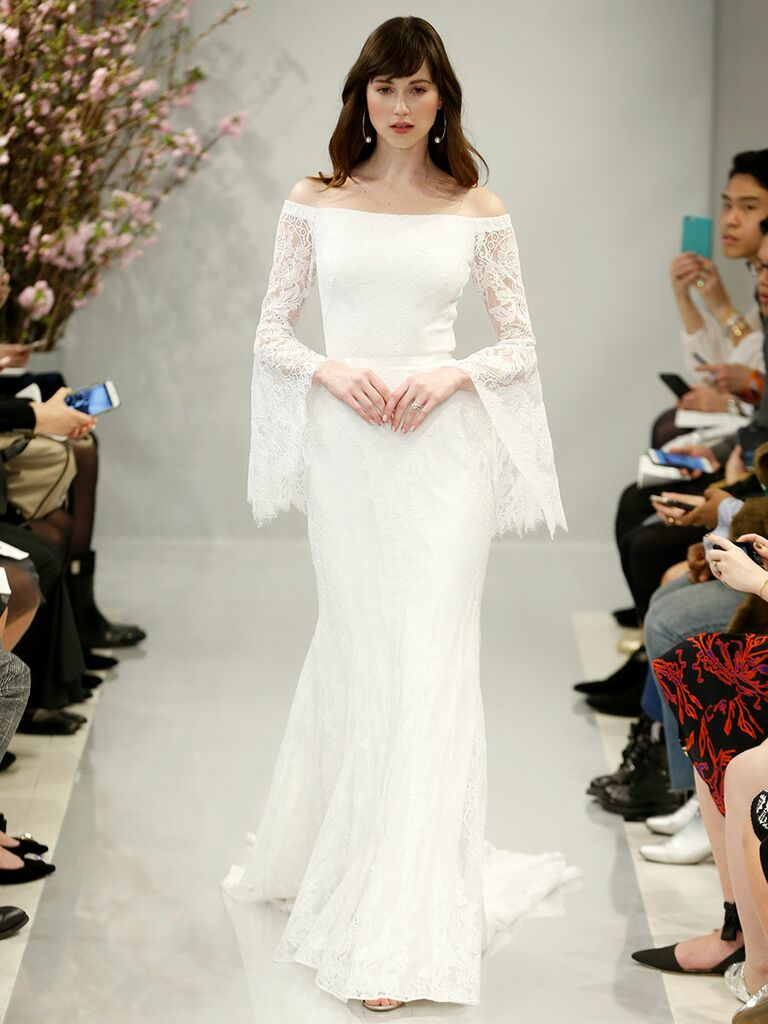 off-the-shoulder lace wedding dress with long bell sleeves