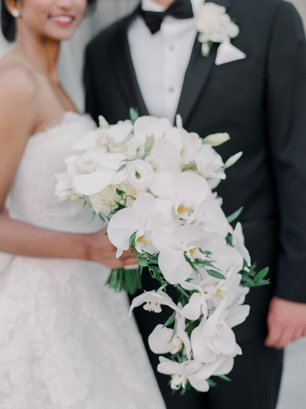 White orchid wedding bouquets cascading white orchid bouquet mightylinksfo